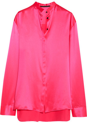 Haider Ackermann - Oversized Silk-satin Shirt - Bright pink $825 thestylecure.com