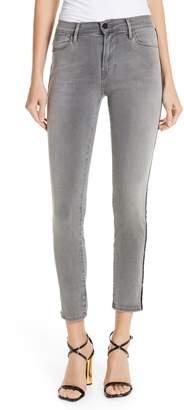 Frame Le High Velvet Tuxedo Stripe Ankle Skinny Jeans