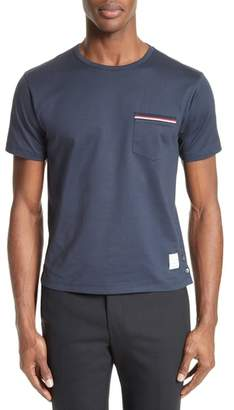 Thom Browne Stripe Trim Pocket T-Shirt