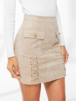 Shein Dual Flap Pocket Grommet Crisscross Suede Skirt