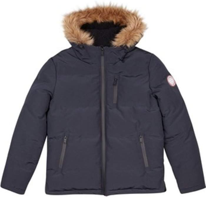Womens **Burton Navy Birch Faux Fur Hooded Padded Jacket