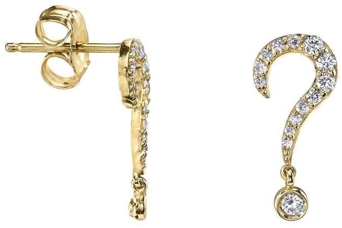 Yellow Gold Question Mark Stud Earrings