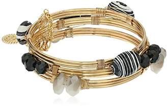 Jessica Simpson Set of 3 Stone Wrapped Bangle Bracelet