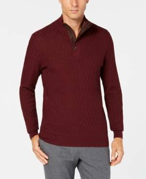 Tasso Elba Men's Supima Mock-Neck Textured Sweater, Created for Macy's