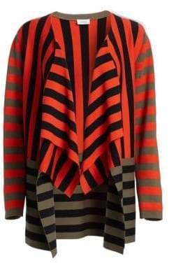 Akris Punto Striped Asymmetric Stretch Wool Cardigan