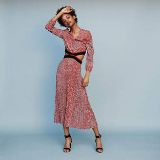 2f888872fe176 Maje Long pleated dress in leopard print