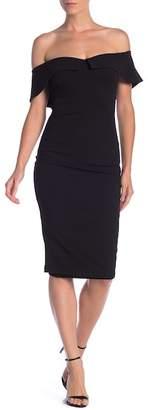 Hale Bob Off-the-Shoulder Midi Dress