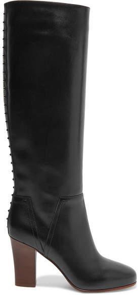 Valentino - Lovestud Leather Knee Boots - Black