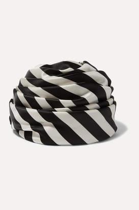 Maison Michel Simone Striped Twill Turban - Black