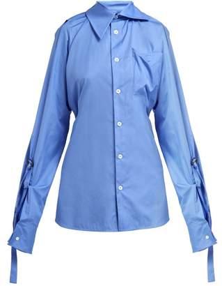 Vivienne Westwood Lottie Asymmetric Cotton Poplin Shirt - Womens - Blue