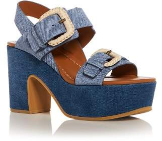 See by Chloe Women's Denim Print Suede High-Heel Platform Sandals