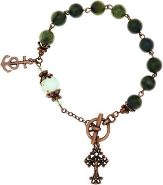 Connemara Marble Bronzetone Antiqued Rosary Bracelet