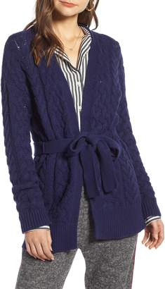 Treasure & Bond Cable Knit Belted Wrap Cardigan