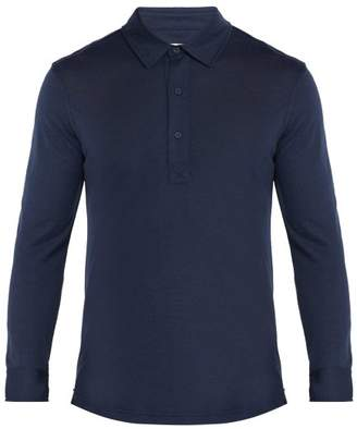 Orlebar Brown Sebastian Merino Wool Long Sleeved Polo Shirt - Mens - Navy