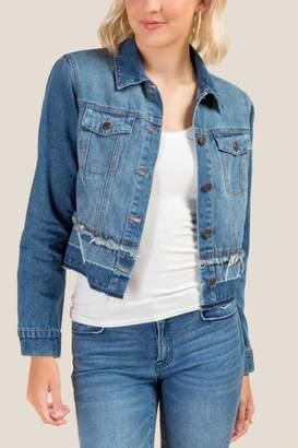 francesca's James Cropped Denim Jacket - Medium Wash