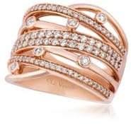 LeVian Chocolatier® Vanilla Diamonds® & Strawberry Gold® Gladiator Weave Ring