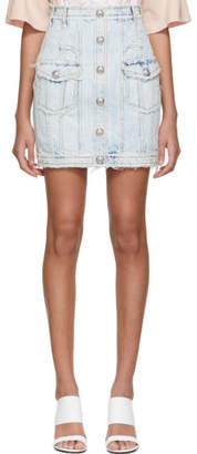 Balmain Blue Bleached Denim High Waist Skirt