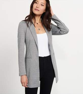Dynamite Boyfriend Blazer With Front Pockets GREY/CREAM TWILL