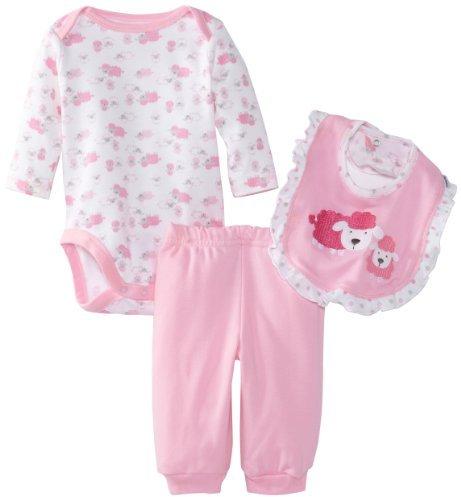 Gerber Baby-Girls Organic 3-Piece Set Long Sleeve Onesies Bodysuit with Bib