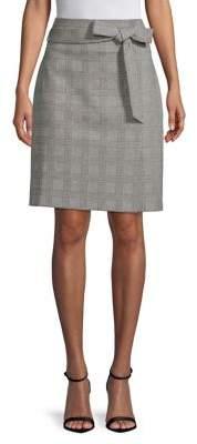 Isaac Mizrahi IMNYC Glen Plaid Self-Tie Pencil Skirt