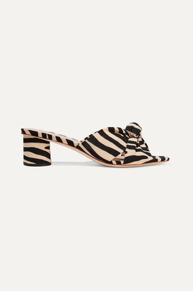Loeffler Randall Celeste Knotted Zebra-print Twill Mules - Zebra print