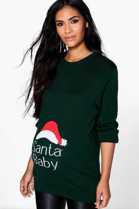 boohoo Maternity Maisie Santa Baby Christmas Jumper