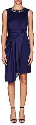 Karen Millen WOMEN'S BEADED-NECKLINE CREPE & SATIN DRESS