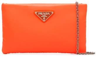 Prada orange small logo pouch