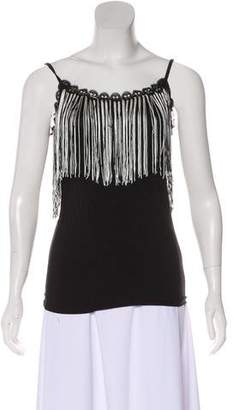 Anna Sui Fringe-Trimmed Jersey Top w/ Tags