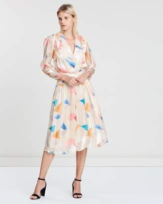Reiss Balance Print Burnout Midi Dress