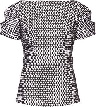 Safiyaa Fayola Short-Sleeve Crepe Printed Top