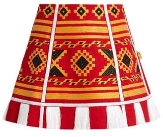 Vita Kin - Croatia Embroidered Linen Skirt - Womens - Red Multi