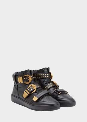 Versace Studded Belt Hi-Top Sneakers