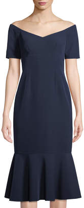 Maggy London The Lucy Off-the-Shoulder Flounce-Hem Crepe Cocktail Dress