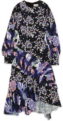 Peter Pilotto Asymmetric Printed Silk Midi Dress - Navy