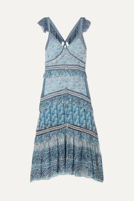 Sea Bella Tiered Printed Voile Midi Dress - Blue