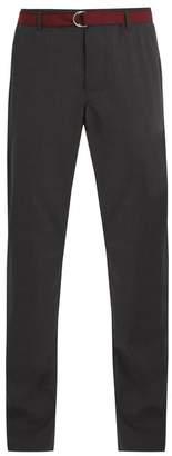 Prada Straight Leg Wool Trousers With Belt - Mens - Grey