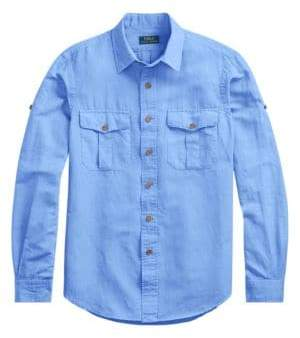 Polo Ralph Lauren Men's Roll-Tab Sleeve Sport Shirt - Blue - Size Small