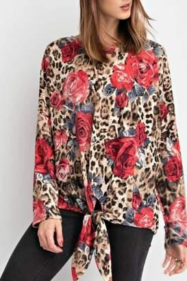 American Fit Leopard Rose Top