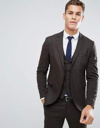 Jack and Jones Slim Suit Jacket In Herringbone Tweed