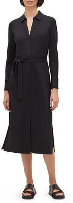 Lafayette 148 New York Plus Size Rea Long-Sleeve Matte Jersey Shirtdress