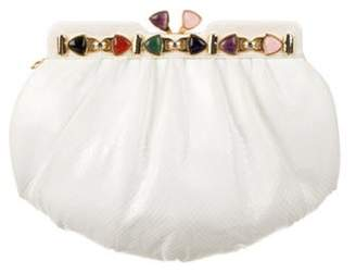 Judith Leiber Embossed Leather Jeweled Clutch White Embossed Leather Jeweled Clutch