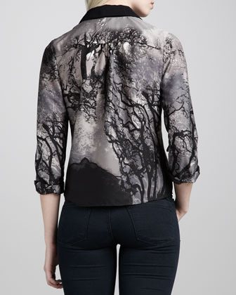 Cooper & Ella Forest Print Button-Up Blouse, Black