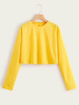 Shein Solid Round Neck Sweatshirt