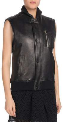 Saint Laurent Snap-Front Lambskin Leather Vest