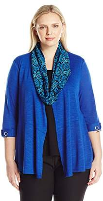 Notations Women's Plus Size Long Sleeve Cozy Cardigan with Solid Knit Inset and Printed Scarf