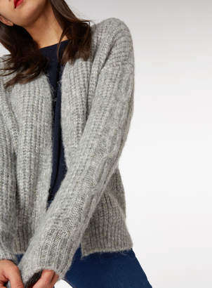 Tu Clothing Grey Short Cable Cardigan