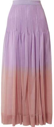 Missoni Pleated Ombré Metallic Stretch-knit Maxi Skirt - Lilac