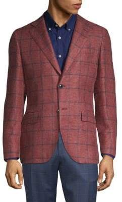 Lubiam Windowpane Check Textured Linen Blend Sport Jacket