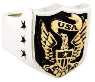 King Baby Studio Two-Tone Eagle Shield Signet Ring